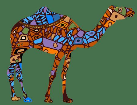 Camello de colores africano, icono de buena suerte.
