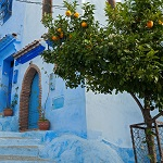 escaleras azules en ChefChauen, Marruecos