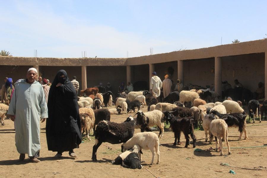 Mujer y hombre en el mercado de Rissani, Marruecos